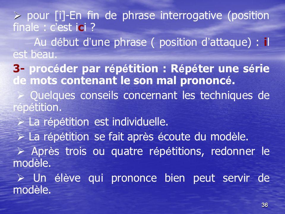  pour [i]-En fin de phrase interrogative (position finale : c'est ici